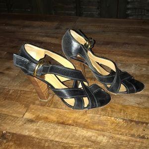 Chloe black stacked heel buckle sandals